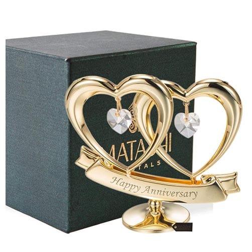 Happy Anniversary Double Heart Figurine Ornament