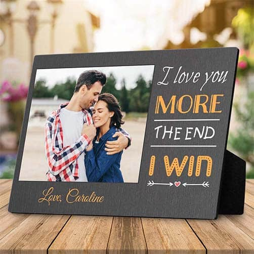 gifts for friendship anniversary: I Love You More Photo Desktop Plaque