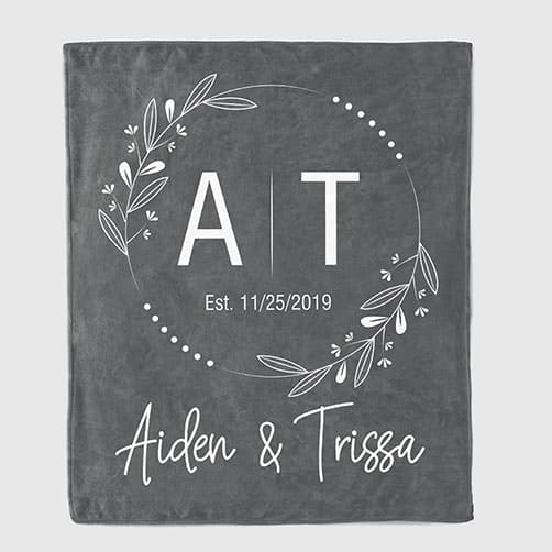 ideas for anniversary gift for him: Initials Anniversary Personalized Throw Blanket
