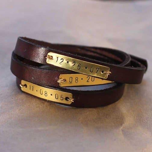 diy gifts for husbands: Metal Stamped Leather Wrap Bracelet