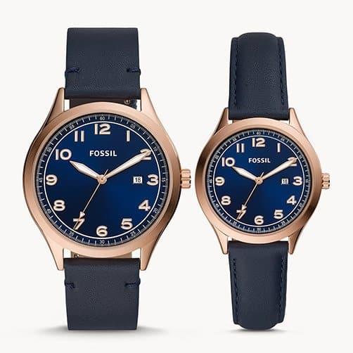Navy Leather Watch Box Set