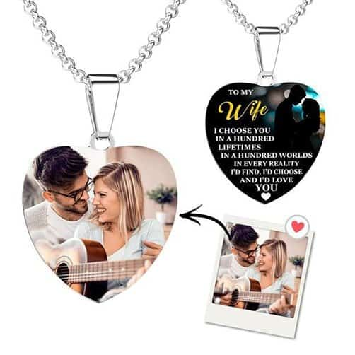 anniversary gift for friends: Photo Engraved Necklace