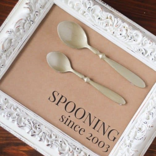 diy gifts for anniversary: Spooning Since Frame