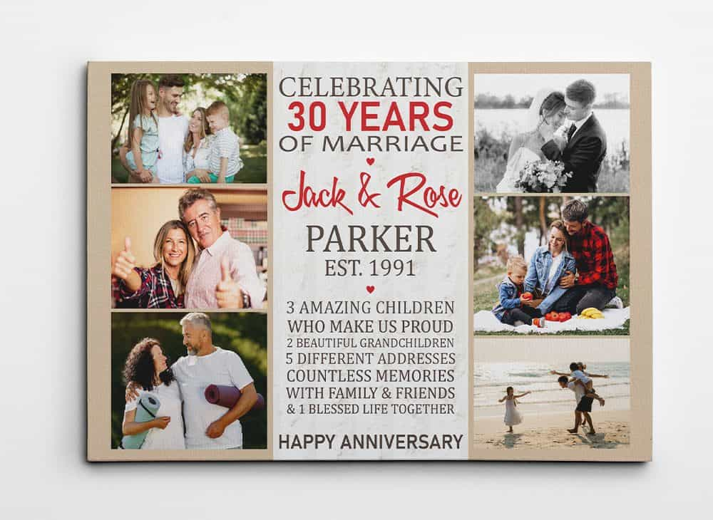 Celebrating 30 Years of Marriage Photo Collage Canvas Print