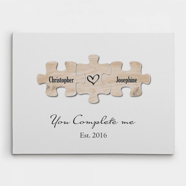 """You Complete Me"" Puzzle Canvas Print"