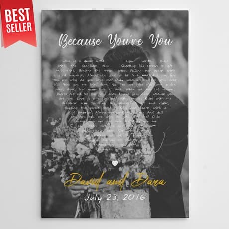 Black and White Song Lyrics on Photo Canvas Print - Vertical