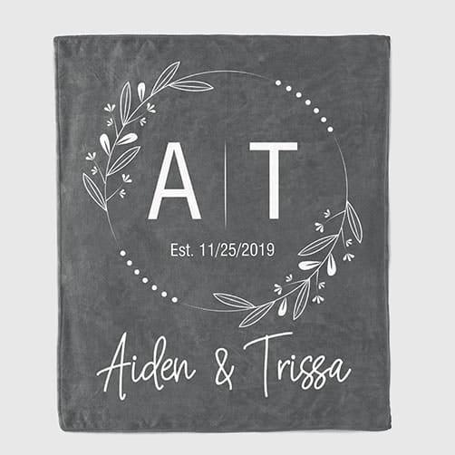 Couple Initials Throw Blanket