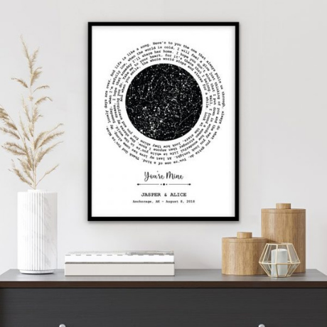 Custom Star Map and Spiral Song Lyrics Framed Print