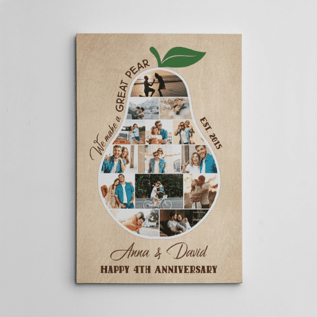 We Make A Great Pear 4th Anniversary Photo Collage Canvas Print - anniversary gifts by year