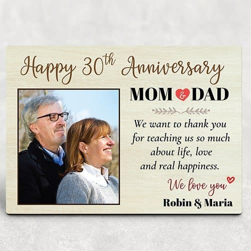 30 years anniversary gift for parents: Happy 30th Anniversary Mom and Dad Desktop Plaque