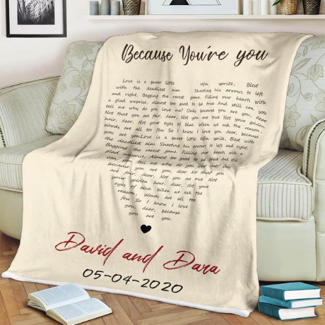 Heart-Shaped Custom Song Lyrics Blanket  - 3rd anniversary gift