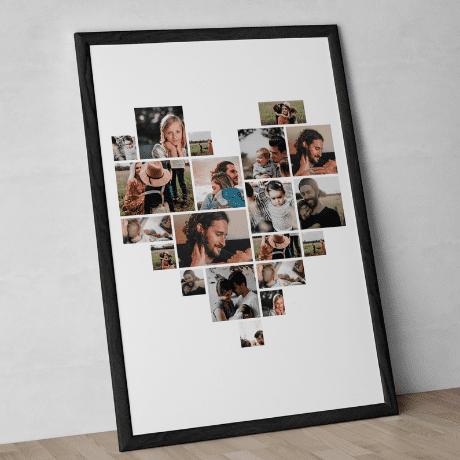 Heart Shaped Photo Collage Custom Canvas Print