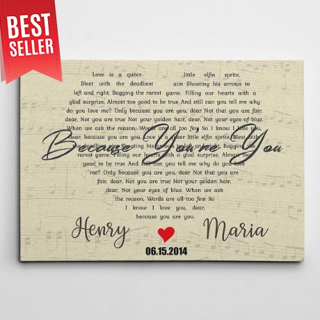 Heart Shaped Song Lyrics Custom Canvas Print