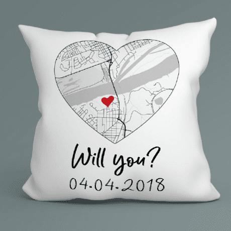 Hello Will You I Do Custom Map Black And White Suede Pillow - 3rd anniversary gift