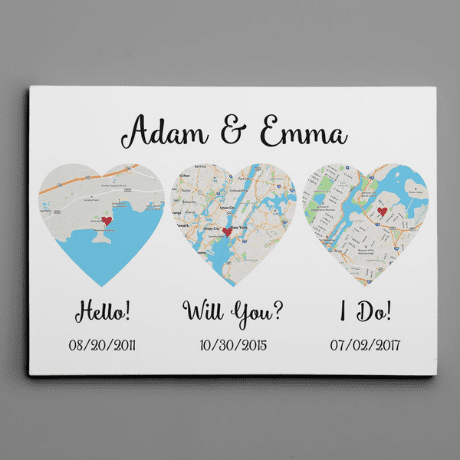 Hello– Will You – I Do – Standard Style – Map Canvas Print - 8 year anniversary gift