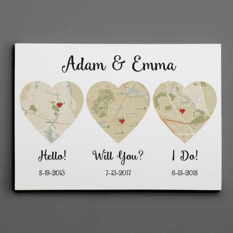 Hello – Will You – I Do Map – Retro Style – Canvas Print, Anniversary Gift