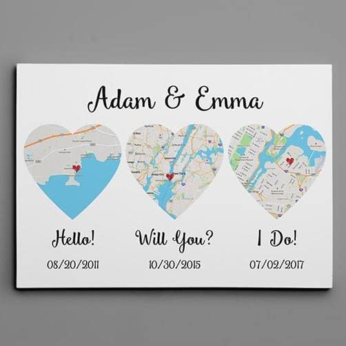 best anniversary gifts for him: Hello – Will You – I Do– Map Canvas Print