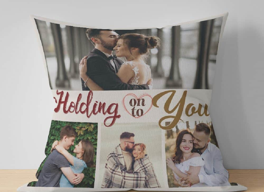 Holding On To You Custom Photo Collage Suede Pillow