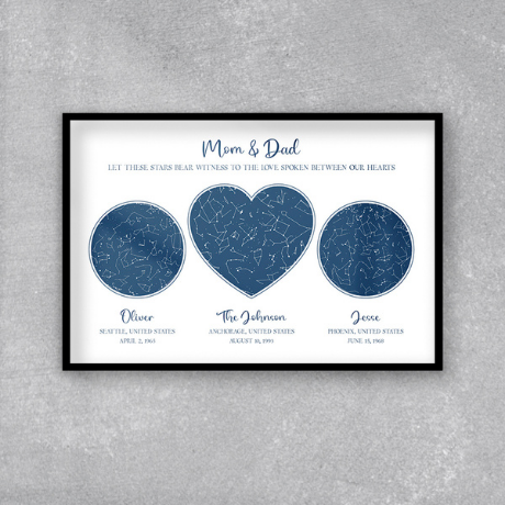 Our Hearts Custom Star Map Framed Print