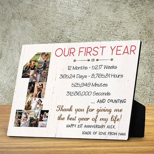 first anniversary gift for friends: One Year Anniversary Photo Collage Desktop Plaque