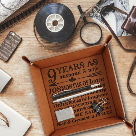Engraved Leather Tray - anniversary gifts by year