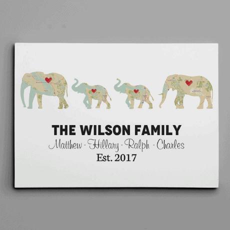 Personalized Elephant Family Print – Retro Map Canvas Print