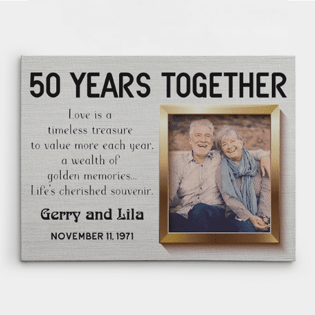 50 Years Together Photo Canvas Print