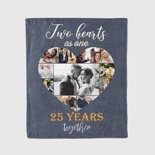 anniversary gift for mom and dad: Photo Collage 25th Anniversary Blanket
