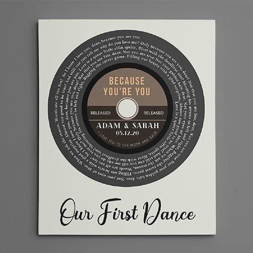 Record Spiral Song Lyrics Canvas Print