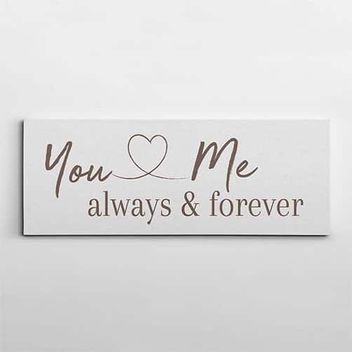 marriage anniversary gifts for friends: You And Me Always And Forever Canvas