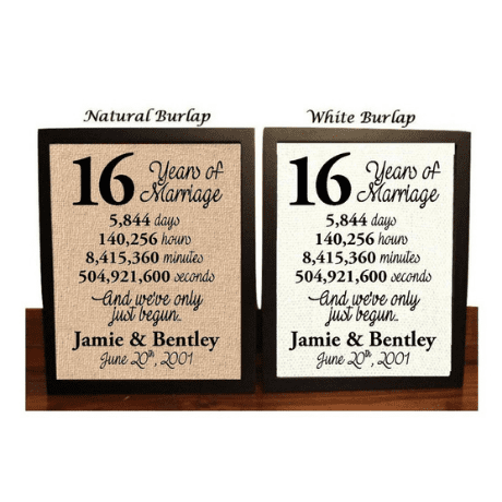 16 Years Together Canvas Print - 16th anniversary gift