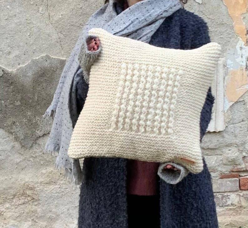Beige Woolen Pillow