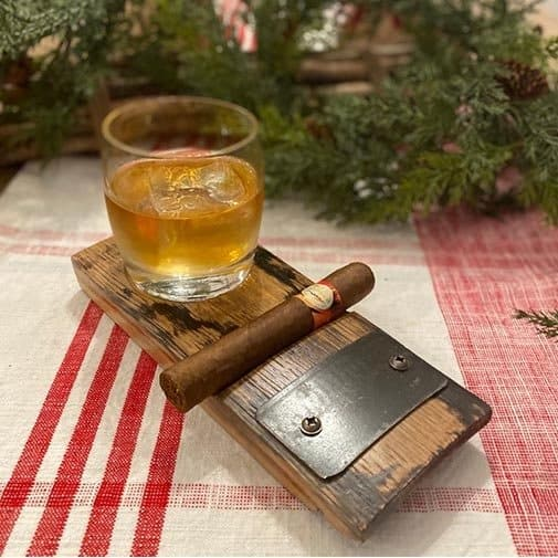 13 year anniversary gift for husband:Personalized Whiskey Barrel Cigar and Rocks Glass Coaster