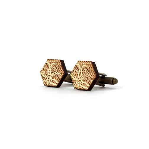 lace anniversary gift ideas: Cufflinks with Lace Pattern