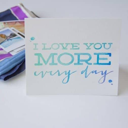 DIY Watercolor Card: anniversay card