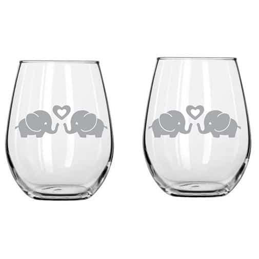 Elephant Couple Glass
