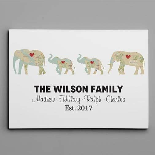 ivory gifts: Personalized Elephant Family Print