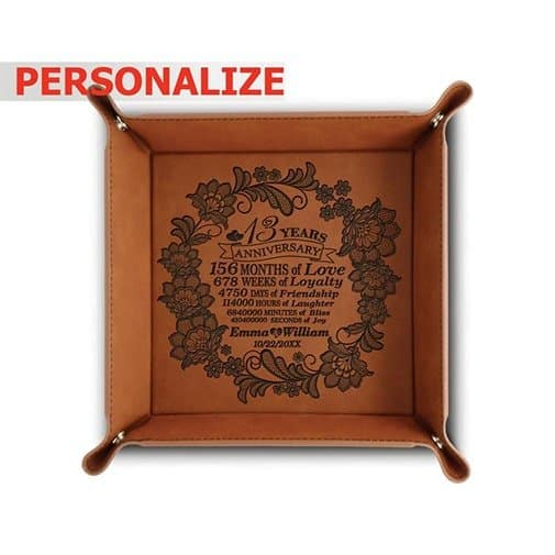 Engraved Leatherette Valet Tray