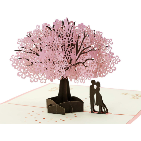 Penta Angel Handmade Cherry Blossom Card Pop Up - 16th anniversary gifts