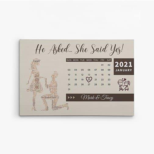 Engagement Calendar Canvas Print