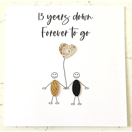 13 years of marriage: Lace Anniversary Card