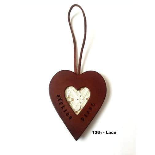 Leather Heart with Lace Keepsake