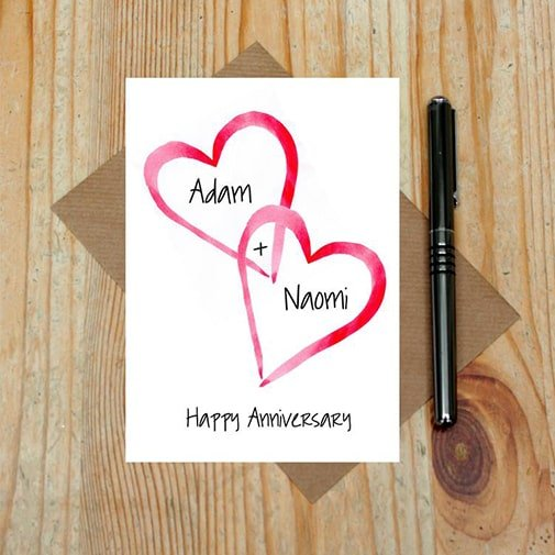 Love Heart Card: homemade anniversary cards