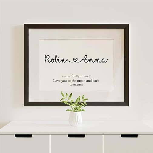 Love You To The Moon And Back Name Framed Print