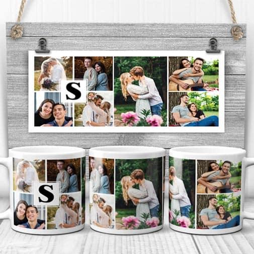 Monogrammed Wedding Photo Collage Coffee Mug