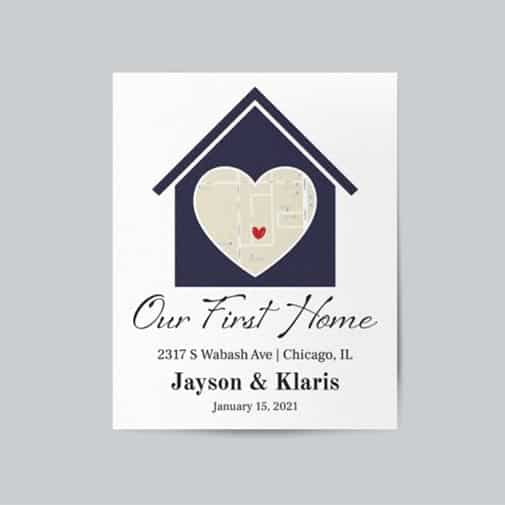 customized engagement: Our First Home Canvas gifts