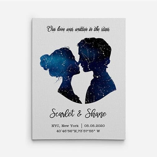 12th wedding anniversary: Our Love Was Written In The Stars Canvas Print