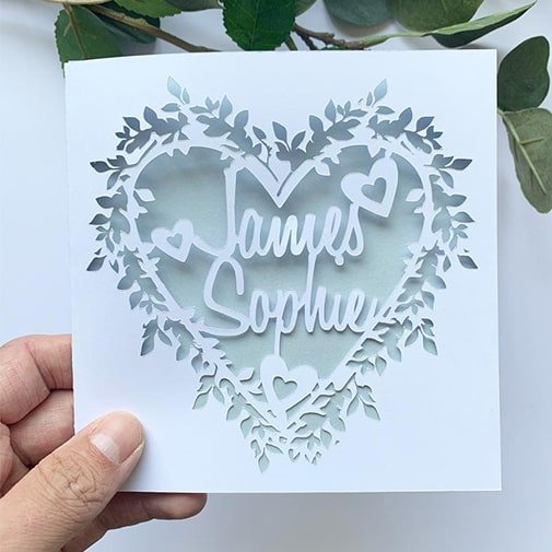 happy anniversary card: Papercut Name Card