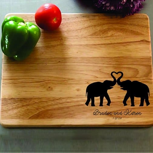 ivory anniversary gifts: Personalized Elephant Cutting Board