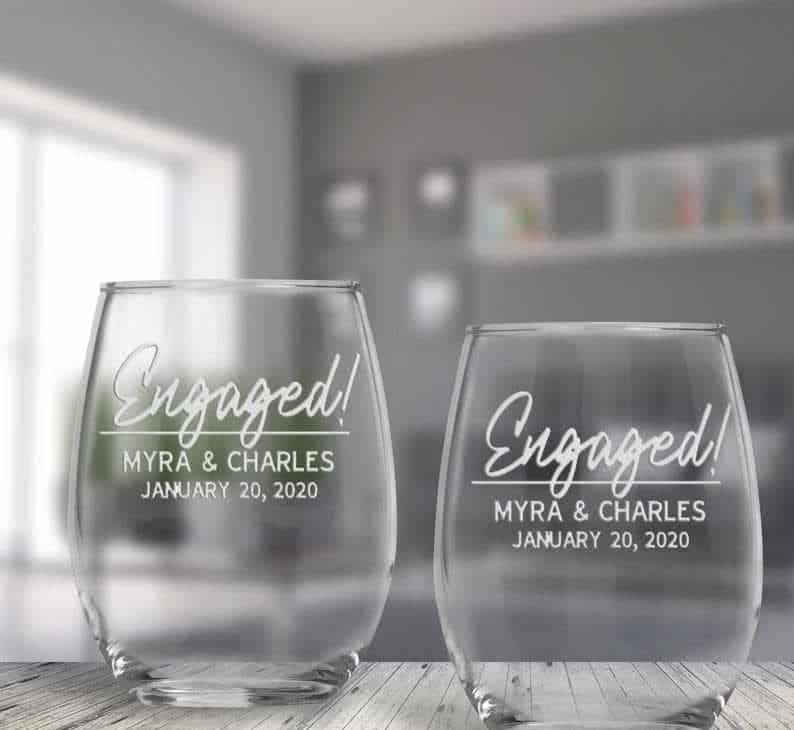 monogram engagement gifts:  Personalized Engaged Stemless Wine Glasses